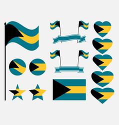 bahamas flag set collection of symbols flag vector image