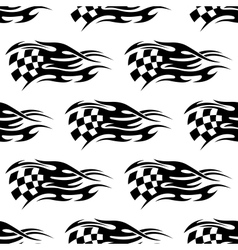 Checkered black and white flag vector image