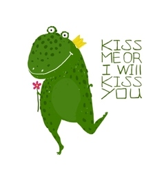 Fun Green Magic Frog Asking for Kiss Smiling vector image
