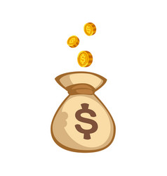 stacks of gold money coins bag income profits cash vector image