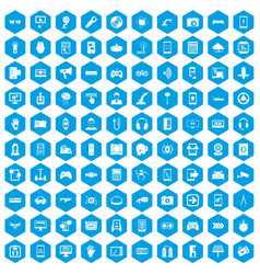 100 gadget icons set blue vector image
