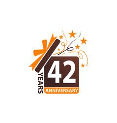 42 years gift box ribbon anniversary vector image