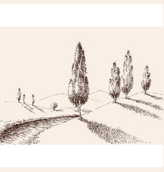 A footpath in nature hills and poplars landscape vector