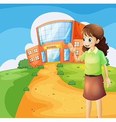 A teacher in front of the school building vector image
