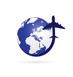 Airplane with blue globe symbol vector