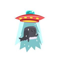 alien ufo spaceship taking away whale flying vector image
