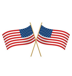 american crossed flags waving left and right vector image