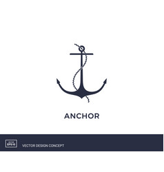 anchor emblem with rope yacht style design vector image