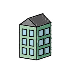 Apartaments building icon vector