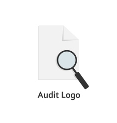Audit logotype with sheet paper and magnifying vector