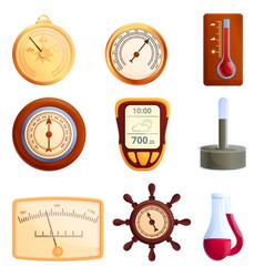 Barometer icons set cartoon style vector