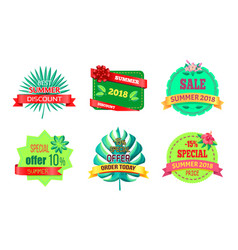 Best summer discount logos with tropical plants vector