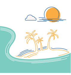 big ocean wave and tropical island flat line vector image