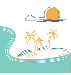 big ocean wave and tropical island flat line vector image
