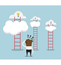 Businessman confused for choose ladder vector