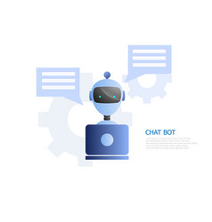 chat bot concept robot use laptop to chatting and vector image