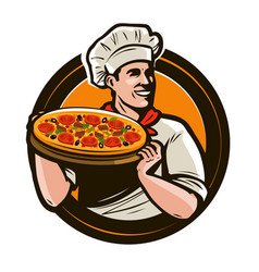 Chef holding a tray pizza fast food vector
