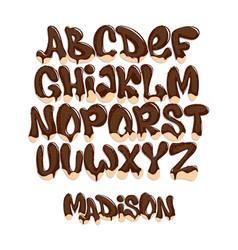 Chocolate melting typeset sweet alphabet vector