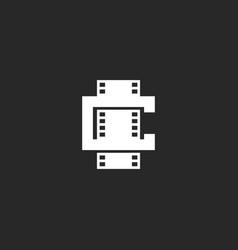 cinema logo mockup shape leter c logotype vector image