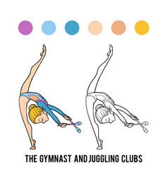 Coloring book gymnast and juggling clubs vector