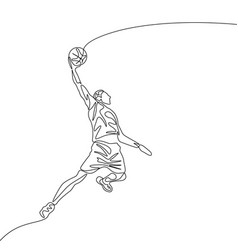 continuous one line drawing basketball player vector image