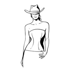 Cowboy girl with a hat and a corset black and vector