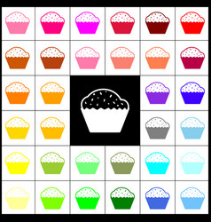 Cupcake sign felt-pen 33 colorful icons vector