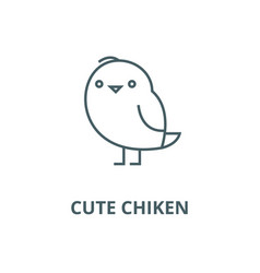 cute chiken line icon cute chiken outline vector image