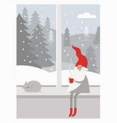 cute gnome in red hat is sitting on window sill vector image