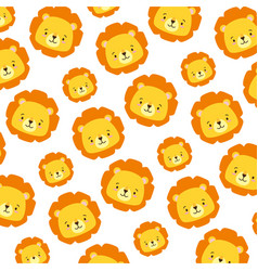 cute lion face cartoon background vector image
