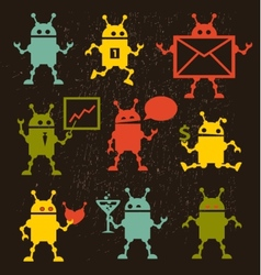Cute robot icons black and white vector
