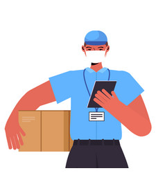 delivery man in uniform with cardboard box wearing vector image