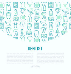 dentist concept with thin line icons vector image
