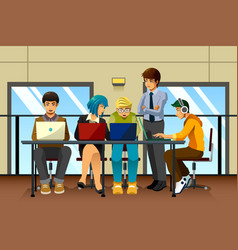 Different business people working together vector