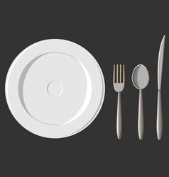 Dining Set Plate Fork Spoon Knife vector