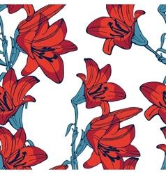 Elegant lilly flowers pattern vector
