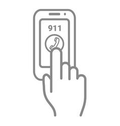 emergency call number 911 on a touch screen vector image