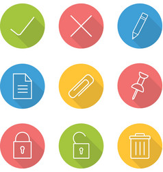 File manager linear icon set vector