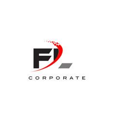 fl modern letter logo design with swoosh vector image