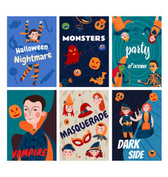 flat halloween cards collection vector image