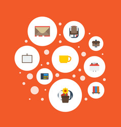 flat icons armchair letter whiteboard and other vector image