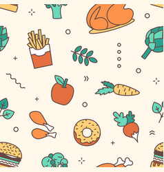 food products flat seamless pattern french vector image