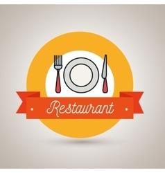 Fork plate knife restaurant icon vector