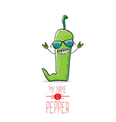 Funny cartoon green pepper character vector