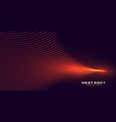 Glowing abstract orange particle wave background vector