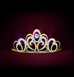 Golden realistic diadem composition vector