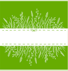 green background with wild herbs and place for vector image