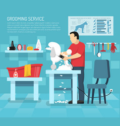 Grooming pet service composition vector