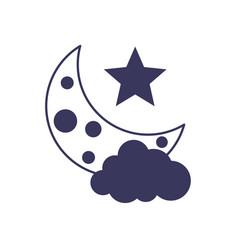 Half moon cloud weather line image vector