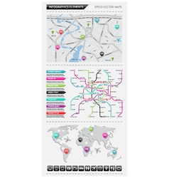 Infographics elements with maps vector image